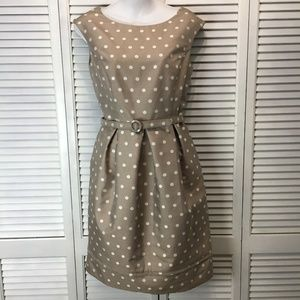 Eliza J tan ivory polka dot sleeveless dress sz 8